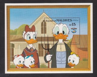 Maldives - Sc 1048 - Disney Souvenir Sheet Donald Duck 50th Birthday photo