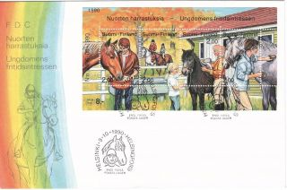 Horse Riding Family And Youth Hobby Sheet Finland Fdc 1990 photo
