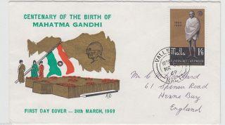 Malta 1969 Mahatma Gandhi Rajghat Fdc 62407 photo