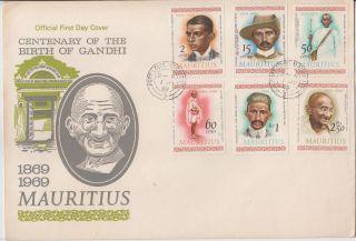 Mauritius 1969 Mahatma Gandhi 6v Fdc 62470 photo