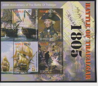 Tuvalu Battle Of Trafalgar Sheet Of 4 Scott 972 photo