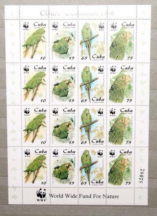 1998 Wwf Birds Parakeet Mini Sheet. photo