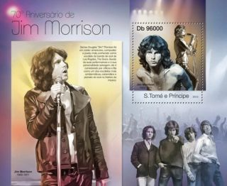 St Thomas Sao Tome 2013 Jim Morrison Music Legend Star Singer S/s photo