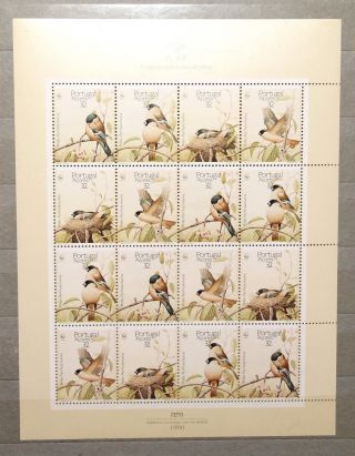 1990 Portugal Wwf Birds Mini Sheet. photo