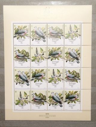 1991 Portugal Wwf Birds Mini Sheet. photo