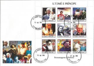 Sao Tome Mandela Rotary Diana Red Cross Picasso Pope Kofi Anan S/s Fdc St3302 photo