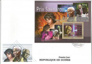 Guinee Sakharov Nelson Mandela Nasreen Science S/s Fdc C8 Gu0879 photo