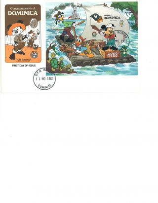 Dominica Disney Fdc Stamp Souvenier Sheet 1985 Xmas / Twain ' S Sawyer photo