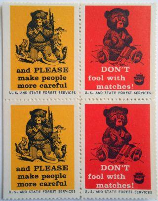 Praying To God 1963 Smokey Bear Poster Stamp Sbr 31 - 32 U.  S.  History Cinderellas photo
