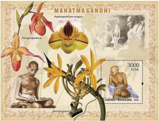 Guinea - Bissau - 2006 Gandhi & Orchids Stamp Souvenir Sheet Gb6208b photo