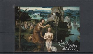 Grenada 2013 Christmas 1v S/s Art Paintings Baptism Christ Joachim Patinir photo