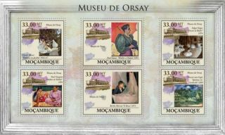Mozambique - Impressionist Art Monet Degas - 6 Stamp Sheet 13a - 419 photo