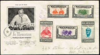 3071 Nicaragua To Us Registered Air Mail Fdc Cover 1946 Roosevelt Managua - Ny photo