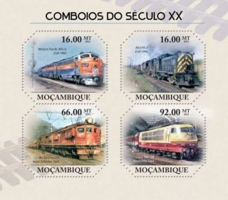 Mozambique - 2011 20th Century Trains - 4 Stamp Sheet 13a - 607 photo