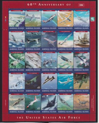Marshall Islands 60th Ann.  Of The United States Air Force Sheet Of 25 Sc 900 photo