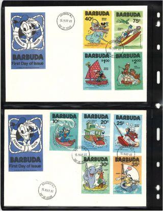 Rare (2) Barbuda Disney Stamp Fdc ' S Donald Duck photo
