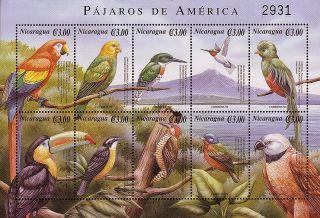 Nicaragua Birds Sc 2350 Sheet Of 10 2000 photo