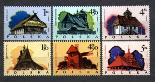 Poland 1974 Wooden Architecture: Churches,  Windmill,  Town Hall 2023 - 8 photo