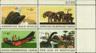 1970 Us 1387 - 90 Plt Blk Eagle Elephants Dinosaurs Bird Animal Reptile Canoe photo