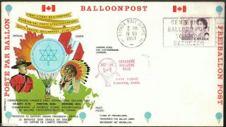 Canada 1967 Baloon Race Cover,  Baloon Post,  Collor Illustrated Cachet photo