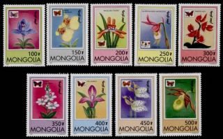 Mongolia 2269 - 77 Flowers,  Orchids,  Butterflies photo