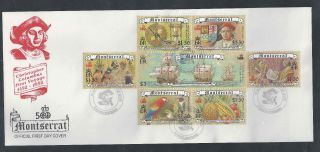 1992 - Christofer Columbus First Voyage 1492 - 1992 Montserrat First Day Cover photo