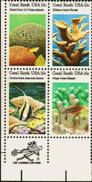 1980 Us 1827 - 30 Zip Blk Of 4 American Coral Reef Marine Sea Ocean Life Fish photo