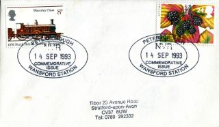 14 September 1993 Autumn First Day Cover Nvr Peterborough Wansford Station Shs photo