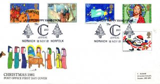 18 November 1981 Christmas Post Office First Day Cover Big C Norwich Shs photo