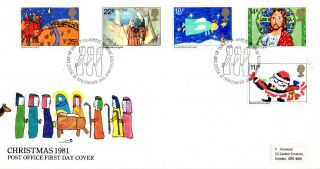 18 November 1981 Christmas Post Office First Day Cover Bureau Shs (p) photo