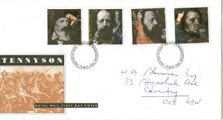 10 March 1992 Tennyson Royal Mail First Day Cover Coventry Fdi photo