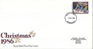 2 December 1986 12p Discount Christmas Royal Mail First Day Cover Birmingham Fdi photo