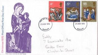 25 November 1970 Christmas Post Office First Day Cover Durham Fdi photo