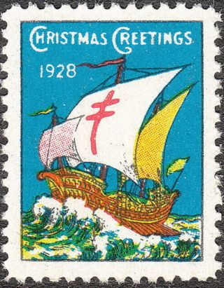 Stamp Label Us Christmas Seal 1928 Tb Sail Boat Greetings Holiday photo