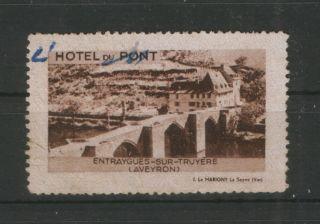 France - Old Poster Stamp - Hotel Du Pont - Bridge photo