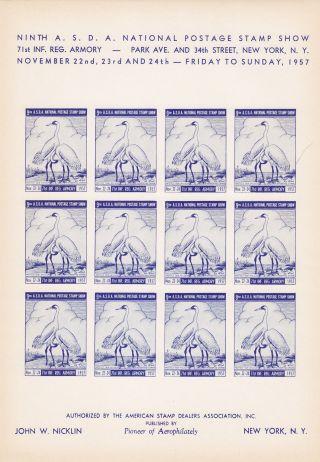 9th Asda American Stamp Dealers Show 1957 Imprf Sheet/12 Cranes Nicklin Blue photo