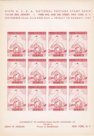 9th Asda American Stamp Dealers Show 1957 Imprf Sheet/12 Cranes Nicklin Red photo