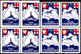 Stamp Label Poland Block Wwii Poster Cinderella Red Cross Ship Airplane photo