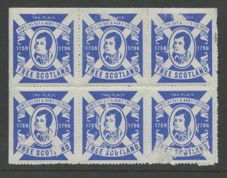 Scotland 1966 Robert Burns Self Rule Labels. . .  Block Of 6. . .  Faults photo