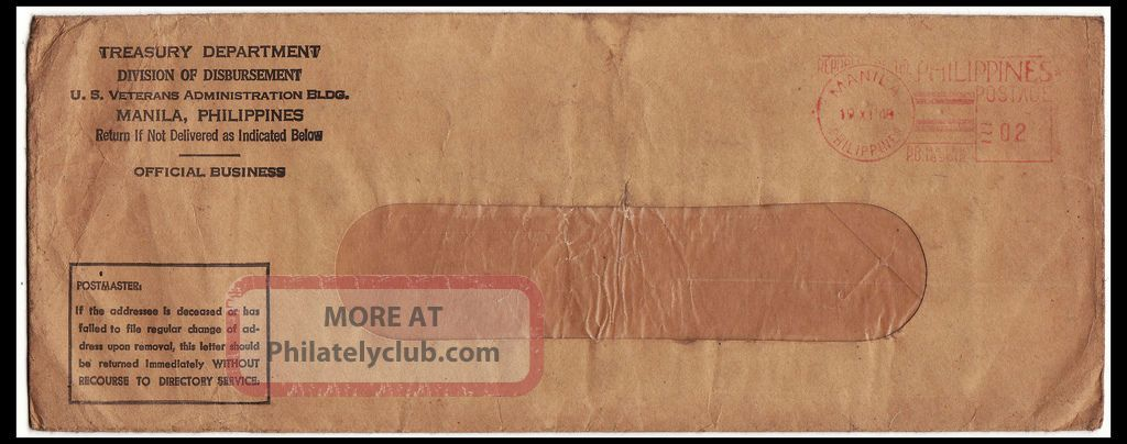 1948 Philippines Metered Mail Us Vets Ob Envelope Specialty Philately photo