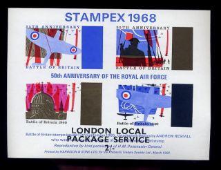 Gb Strike Mail Sheet 1968 Stampex. .  Raf. .  London 2/ - Post photo