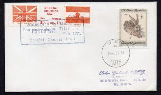 1971 Postal Strike Cover To Austria With Special Courier Mail Label Pair photo