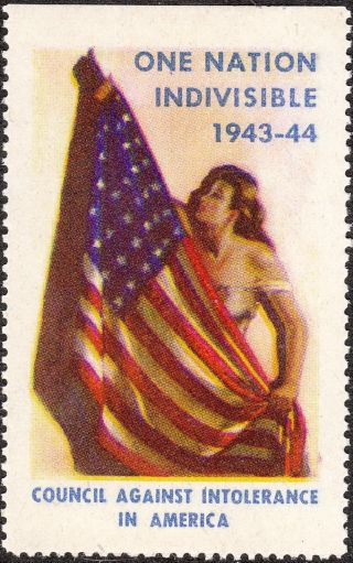 Stamp Label Usa 1943 Wwii Poster Council Against Intolerance In America photo
