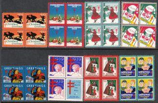 Stamp Label Us Christmas Seal Block 1933 - 40 Bob Tb Greetings Selection photo