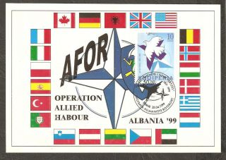 Albania 1999 Maximum Card Issued For 50 Th Anivv.  Of Nato Nr Mi.  Cat.  2683 photo