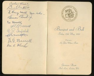 Exhibition 1950 Banquet Signed Menu Alcock Meredith Herst Barrell. . .  Grosvenor Ho photo