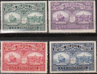 Stamp Label Us 1930 Aps Exhibition Boston Exposition Spanish Arbella Ship photo