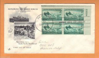 1945 Us Coast Guard Honoring Armed Forces 936 D Plate Block Fdc South Pacific photo