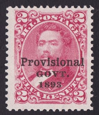 Hawaii Scott 66 1893 2c Rose Provisional Gov.  Overprint,  Og. photo