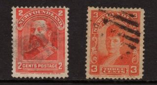 Newfoundland Canada 1898 Sc 82 & 83 Edward Vii & Queen Alexandra,  2c & 3c, photo